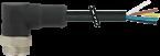 Mini (7/8) 3 pole, Male (Ext.) 90° w/ Cable,
