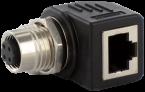 M12 Bu. D-cod. / RJ45 Ethernet adapter 90° 4-pol.
