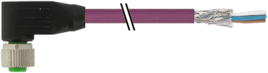 M12 female 90° with cable DeviceNet